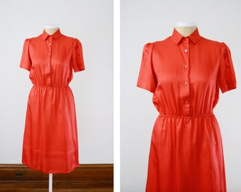 1980s Coral Orange Silk Dress - L