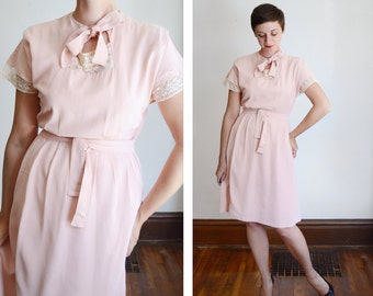 30s/40s Pink and Lace Dress - S