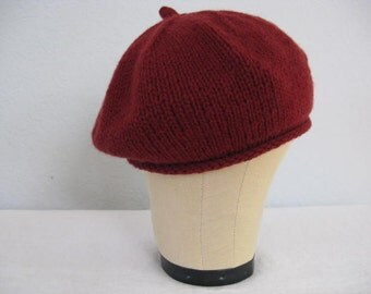 Red Cashmere Beret. Hand Knit Hat in 100 Percent Cashmere. Fall and Winter Accessories. Size Small Adult.
