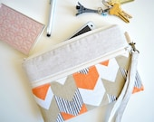 iPhone Wristlet, iPhone Bag, iPhone Case, iPhone Wallet, iPhone Sleeve with Strap - Orange Chevron