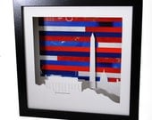 Washington DC shadowbox- made from recycled magazines, nations capital, lincoln memorial, washington, presidential