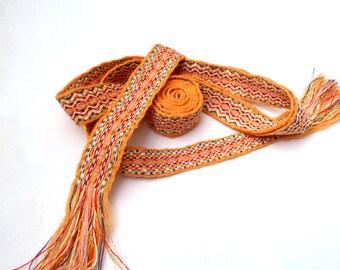 Viking Tablet Weaving Trim - 2 yards - Orange, White, Red, Blue, Gold