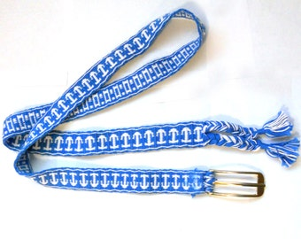 Cute Nautical Tablet Weaving Belt in Blue and White Cotton