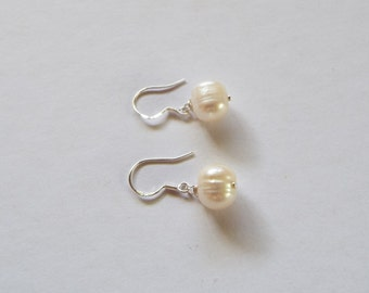 White freshwater pearls and sterling silver earrings