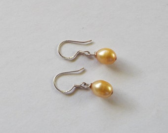 Champagne color freshwater pearl and sterling silver earrings