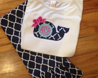 Navy and white trellis  ruffle pants with matching whale tee