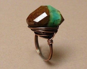 Copper Wire Wrapped Ring. Bio Chrysoprase. Balance Me Ring. Handmade Ring. Size 9.5. OOAK.