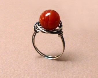 Sterling Silver Wrapped Red Agate Ring. Wire Wrapped Ring. Red Agate. Gemstone Ring. Protective Embrace. Handmade Jewelry. Size 7.5.