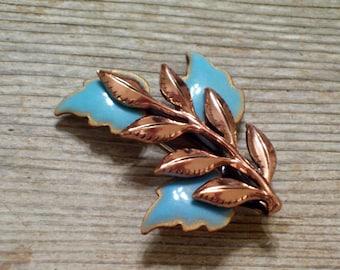 Matisse Leaf Pin, Vintage MATISSE RENOIR Copper Enamel LAUREL Leaf Pin Brooch, Aqua Enamel Brooch, The Copper Cat