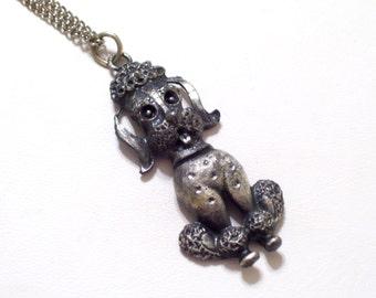 Pewter Poodle Pendant Necklace, Vintage Pewter Dog Jewelry, Canine Pendant, Animal Jewelry