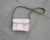 Pale pink distressed Cambridge satchel. 11 inch