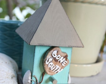 Gone South Holiday Bird House Hand Painted Beach Christmas Decoration Rustic / Coastal Decor for Snowbirds