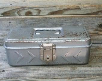 Vintage Grey Metal Tool Box / Fishing Tackle Box / Craft Box / Art Box