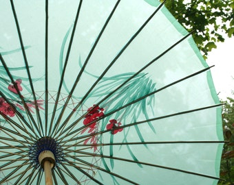 Vintage Oriental Teal-Blue Umbrella / Parasol with Dragonflies and Flowers