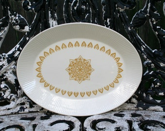 Vintage Mid Century Sheffield Serenade White and Gold Serving Platter