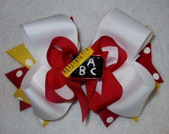 Back to School Bow, ABC Chalkboard Bows, Boutique Hair Bow, BTS Bows, Alphabet Hairbow, Big Boutique Bow, Girls Big Bows, Stacked Hairbow