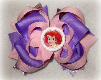 Ariel The Little Mermaid Purple Fantasy Funky Large Boutique Hair Bow Fancy Princess Layers of Loops and Spikes for Baby Toddler Little Girl