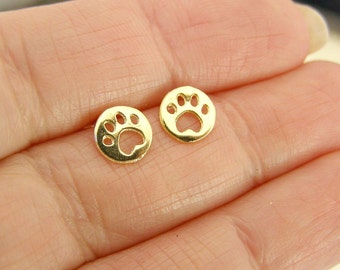 Dog Paw  Stud earrings , Gold stud earrings , Gold Earrings , Dog Paw  Earrings , Gold Post Earrings , Tiny Stud Earrings , Dog Paw Posts