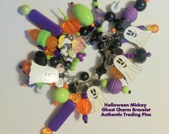 Disney Disneyland Mickey Ghost Trading Pins Charm Bracelet Halloween Jewelry