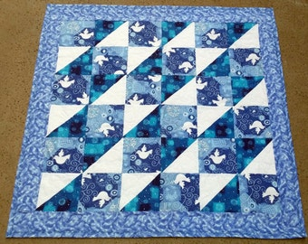 Table Quilt Blue And White Doves Of Peace Table Runner Blue White Metallic Glitter White Doves Home Decor Peaceful Gifts Quiltsy Handmade