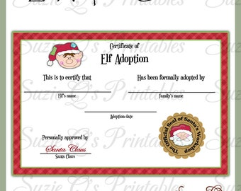Puppy dog adoption certificate birthday party printable elf adoption certificate us and international sizes digital printable immediate download yadclub Images
