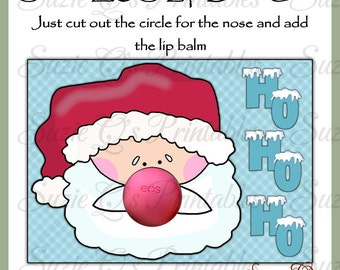 Santa EOS Lip Balm Card - Digital Printable - Immediate Download
