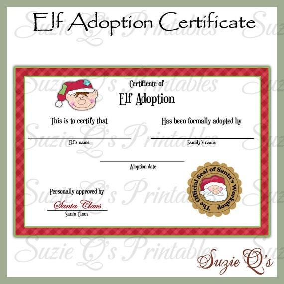 Elf Adoption Certificate - US and International Sizes - Digital ...