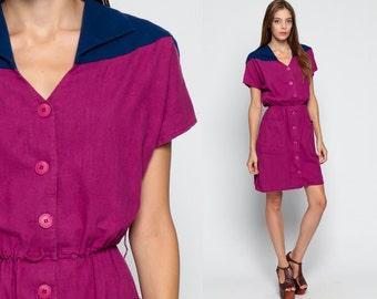 70s Boho Dress Mini COTTON 1970s Slouchy High Elastic Waist CHEVRON Bohemian Purple Vintage Button Up Short Sleeve Color Block Small Medium