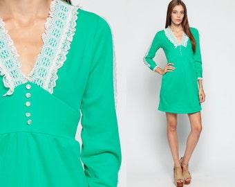 70s Babydoll Dress Boho Mini LACE 1970s Mod Deep V Bohemian Victorian Vintage Long Sleeve Ruffle Empire Waist Green White Small Medium