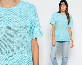 Mesh T Shirt Baby Blue SHEER Tshirt Vintage 80s Blouse Pastel Cut Out Top Long Hipster 1980s See Through Short Sleeve Retro Large