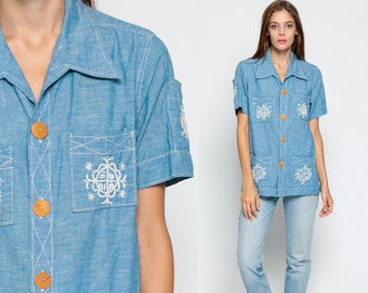 Embroidered Shirt 70s Chambray Denim Boho Blouse Button Up Top 1970s Vintage Bohemian Hipster Short Sleeve Denim Jean Small Medium