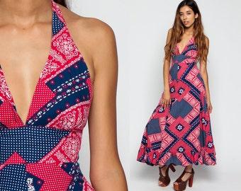 Bohemian Dress SCARF PRINT Backless Maxi 70s Hippie Halter Neck Deep V Neck Empire 1970s Vintage Sundress Sun Boho Red Blue  Extra Small XS
