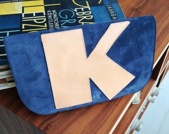 NEW! Blue Suede & Natural Leather Letter Clutch