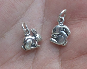 Sterling Silver 3-D Rabbit Charm or Bunny Charm