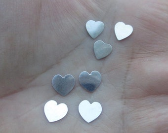 Small Sterling Silver Hearts(4, 6, or 12 hearts)(22 or 28 gauge)