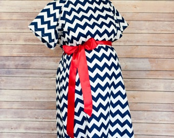 Navy Chevron Maternity Hospital Delivery Gown -Super Soft  -Perfect Snaps for Breastfeeding, Skin to Skin, and Epidural