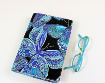 Butterflies Paperback Book Cover - Large Trade Size with Turquoise Blue Butterflies on Black Cotton Fabric