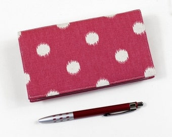 Polka Dots Checkbook Cover for Duplicate Checks with Pen Holder on Cotton Duck Fabric, Pink with Ivory Polka Dots