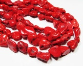 "15"" Gemstone STRAND - Howlite Beads - Organic Nuggets - Bright Red (15"" strand) - str1185"