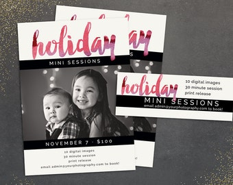 Marketing for Photographers - Holiday Watercolor Mini Session Digital Photoshop Template