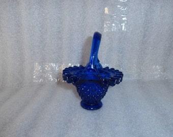 Cobalt Blue Hobnail   Glass Basket  Ruffled Lip Blue Glass  -Hobnail Glass Handle Basket