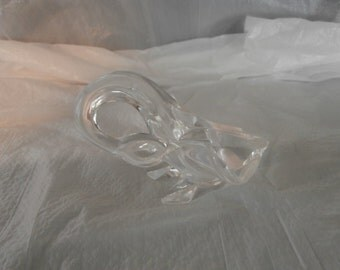Vintage Abstract Crystal Clear Glass Swan Bird Figurine Long Neck