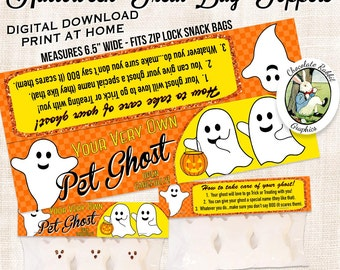 Halloween Treat Bag Toppers Labels Digital Download Printable Pet Ghost DIY Candy Snack Bags Clip Art Image Party Gift Favors