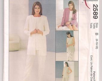 Jacket Pattern, Sleeveless Tunic, Pants Pattern, Skirt Pattern, In two lengths, Easy McCalls 2589, Casual Office Wear, Misses 8 10 12, Uncut