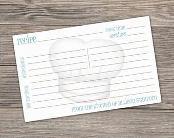 Personalized Recipe Cards, Custom Recipe Cards, 4x6 Recipe Cards, 5x7 Recipe Cards - set of 40