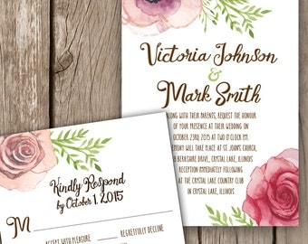 Floral Watercolor Wedding Invitation - Roses Watercolor Wedding Invitation - Script Wedding Invitation - Pinks and Browns Wedding Invitation