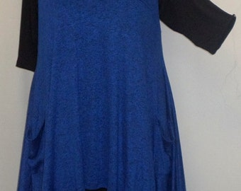Coco and Juan, Plus Size Top, Lagenlook, Layering Tunic Top. Sapphire Blue and Black Space Dyed Knit Size 2 Fits 3X,4X  Bust  to 60 inches