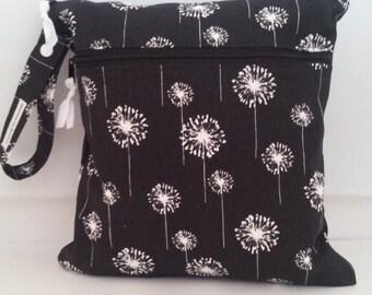 Dandelion Double Wet Bag, Wet bag with 2 zippered pockets, cloth diaper bag, swimsuit bag, kitchen, turquois wet bag,