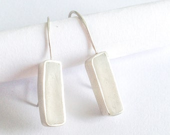 rectangular white polymer clay dangle earings - sterling silver