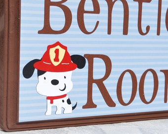 "9"" x 11"" Personalized Door Sign . Bentley . Engine 27 . Fire Truck . Fireman . Dalmatian"